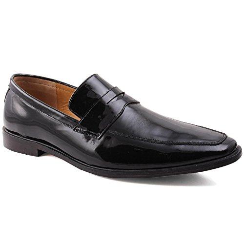Unze Cuero con estilo Slipns Zapatos Derby Hombres Neil ' Negro