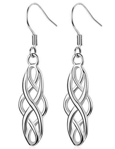 ess Steel Dangel Drop Earrings Luck Irish Celtic Knot Hook Earring Vintage,Silver-tone (Celtic Drop Earrings)