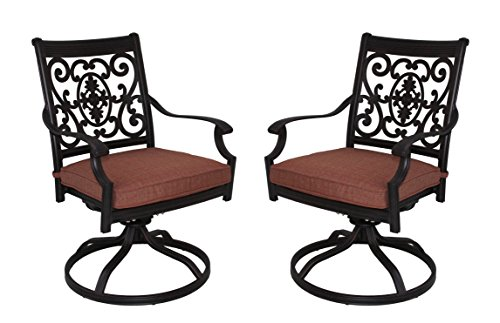 Darlee St. Cruz Cast Aluminum Swivel Rocker Dining Chair Seat Cushion, Set of 2, Antique Bronze Finish Review