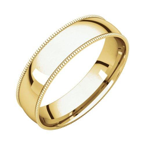 Bonyak Jewelry 14k Yellow Gold 5 mm Milgrain Lightweight Comfort-Fit Band - Size 9.5