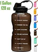 Venture Pal Large 128oz Leakproof BPA Free Fitness Sports Water Bottle with Motivational Time Marker & Straw to Ensure...