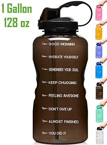 Venture Pal Large 1 Gallon/128 OZ Motivational BPA Free Leakproof Water Bottle with Straw & Time Marker Perfect for Fitness Gym Camping Outdoor Sports-Black
