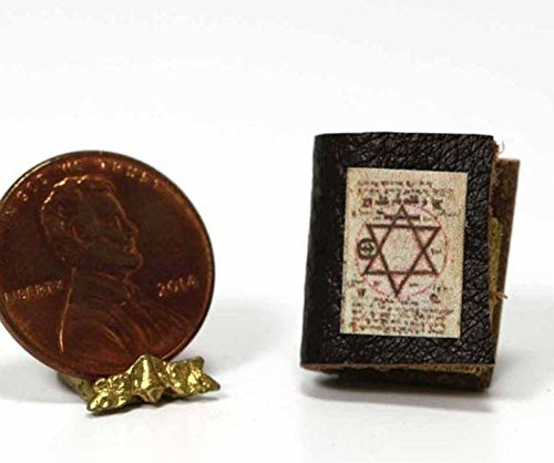 Dollhouse Scale Miniature Book (Dollhouse Miniature 1:12 Scale Witchcraft Book of Spells with Leather Cover)
