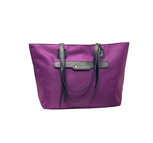 Wewod Mujer Oxford Tela Deportes Recreativos Del Bolso De Moda De Compras Grande Hombro Bolsa De Playa Bolsa De Deporte Bolso De Mano 44.5 x 29.5 x 12.5 cm (L*H*W) Púrpura