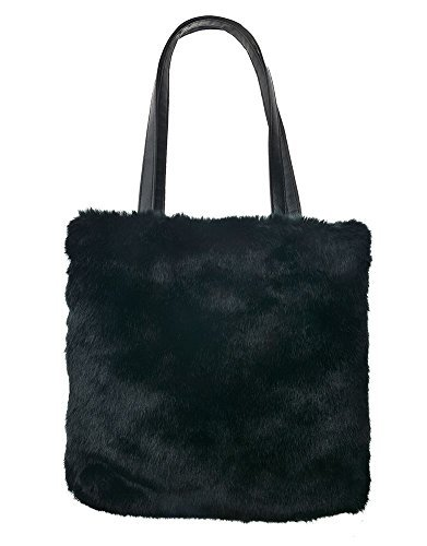 Bag Coloured Fur Tote Fur Faux Shoulder Women's Faux Coloured Tote Shoulder Black Women's Handbag HPxYpxw