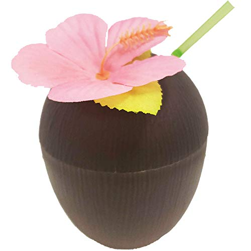 (Pack of 48) Luau Coconut Cup with Straw, Assorted