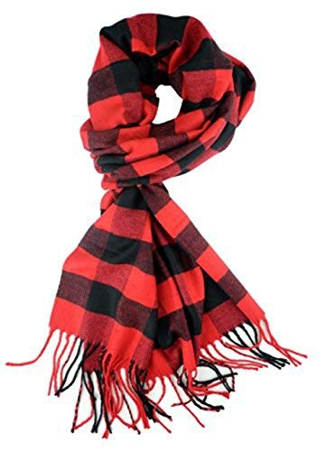 (Classic Luxurious Soft Cashmere Feel Unisex Winter Scarf in Checks and Plaid (Buffalo Plaid Black-Red))