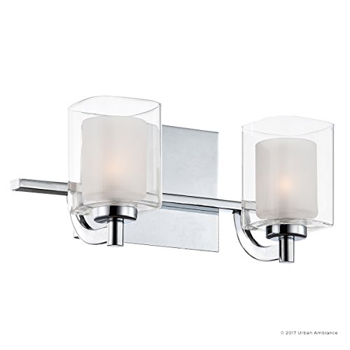 Luxury Modern Bathroom Vanity Light, Medium Size: 6''H x 13''W, with Posh Style Elements, Polished Chrome Finish and Sand Blasted Inner, Clear Outer Glass, G9 LED Technology, UQL2401 by Urban Ambiance by Urban Ambiance (Image #6)