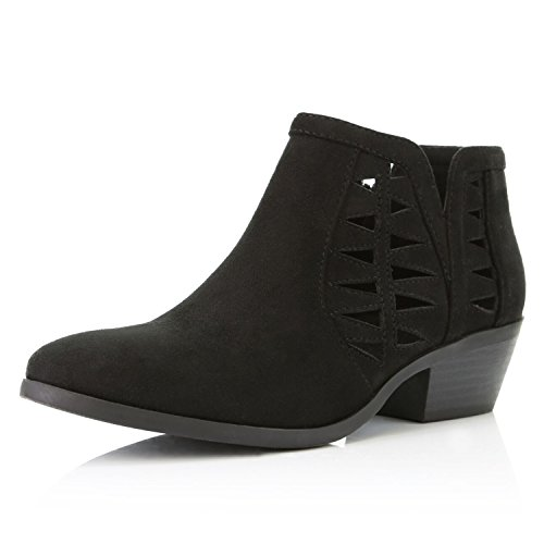 DailyShoes Women's Western Cowboy Bootie - Ultra Comfortable and Soft Perforated Change-01 Black Suede