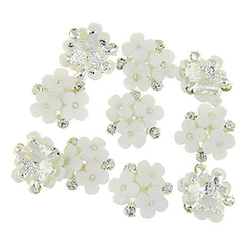 引き出し病な疑いネイルズ3D花銀合金チャーム用10個/ロット三花柄ラインストーンは、アートの装飾ネイル