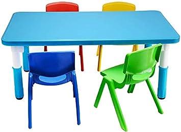 CTC Juego de mesa y silla para niños, sala infantil, sala de juegos, sala de estar, muebles de jardín de infantes, fácil de limpiar, adecuado para niños de 2 a 10 años/Azul: