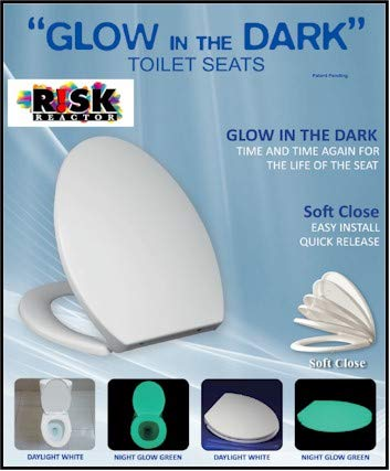 GLOWSEAT-EB Elongated Invisible Sky Blue Glow in the Dark Phosphorescent Toilet Seat