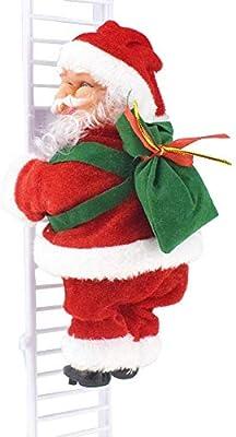 Akaddy Creative Electric Santa Claus Escalera Escalada Muñeca Música Juguete Árbol de Navidad Decoración: Amazon.es: Hogar