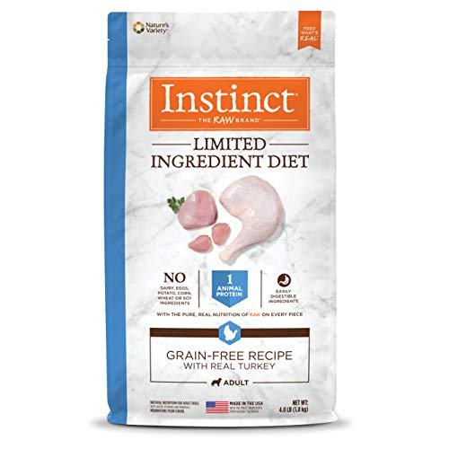 Instinct Limited Ingredient Diet Grain Free Recipe with Real Turkey Natural Dry Dog Food by Nature's Variety, 4 lb. Bag