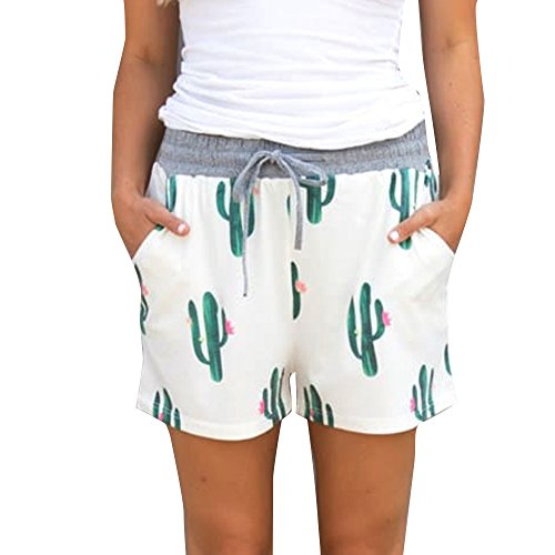 FarJing Clearance sale Women Cactus Print Elastic Short Pants Beach Shorts (XL,White )