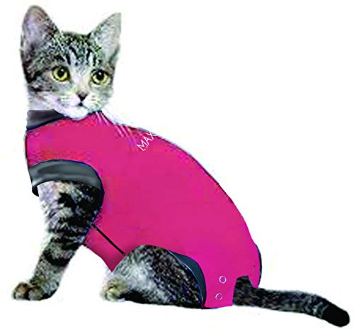 MAXX Medical Pet Clothing & Recovery Cat Shirt E Collar Alternative for Post Surgery, Wounds and Bandages - (XS, Pink) from MAXX