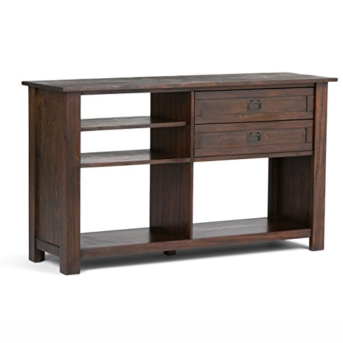 Simpli Home AXCMON-04 Monroe Solid Acacia Wood 52 inch wide Rustic Console Table in Distressed Charcoal Brown