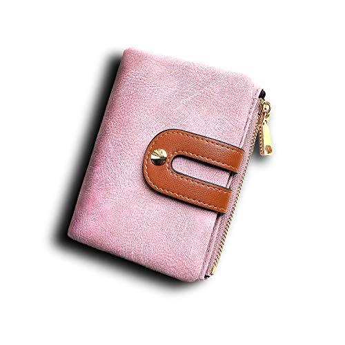Womens Wallets Small Rfid Ladies Bifold Wallet With Zipper Coin Pocket,Mini Purse Soft Compact Thin (Pink)