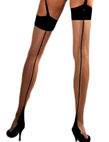 Yummy Bee Womens Suspender Sheer Stockings Seam Cuban Heel Large Nude-Black