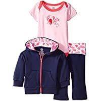 Yoga Sprout Baby Girls' 3 Piece Jacket, Top Pant Set