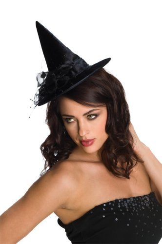 Rubie's Costume Co. 49866 Black Mini Feather Witch Hat Costume, One Size, Multicolor