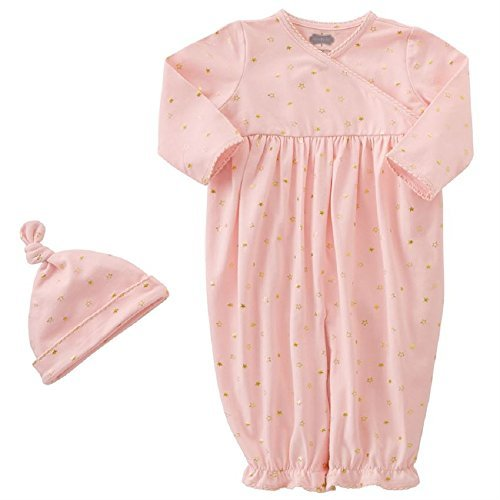 Convertible Set Gown (PINK & GOLD STAR CONVERTIBLE GOWN & CAP SET, 0-3 months)