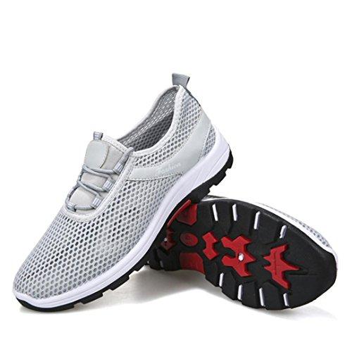 Herren Leichte Laufschuhe Sportschuhe FNKDOR Grau Mesh Lauf Unisex Damen Sport Atmungs Sneaker Schuhe RwqF6d6