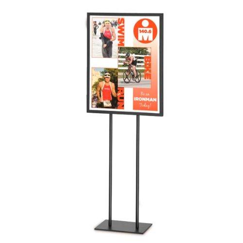 "22"" x 28"" Black Metal Pedestal Sign Holder for Trade Shows and Exhibitions - Freestanding Pedestal Sign"