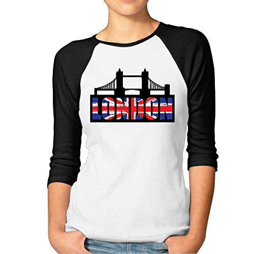 Vintage Jerseys T Shirts London Bridge UK Flag Lady Raglan T-shirt (Womens Vintage T Shirts British compare prices)