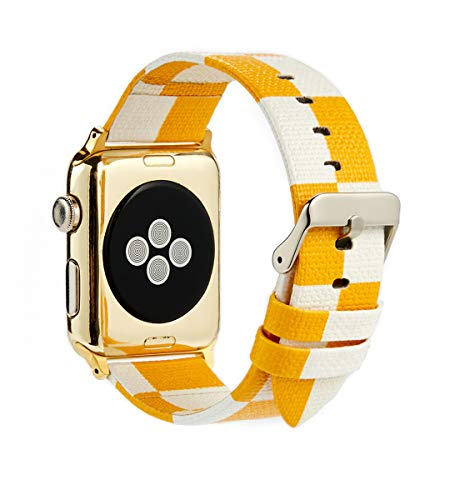 GUVCYO Genuine Leather 3D Big Eye Strap Compatible Apple iwatch Strap 38mm 42mm Replacement Band with Stainless Metal Clasp for Apple Watch Series Sport ... (Yellow-38mm)