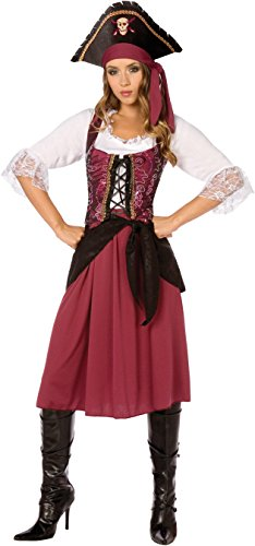 Womens Burgundy Pirate Wench (Large) (Adult Female Pirate Costume)