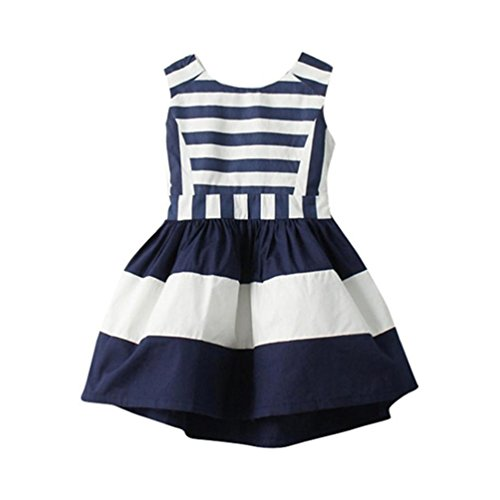 Price comparison product image 2017 Summer Kids Girls Cat Pattern Shirt Top Butterfly Tutu Skirt (3 Years,  Navy)
