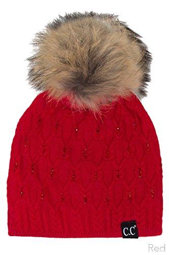ScarvesMe CC Diamond Rhinestone Knitted Angora Skull Cap Hat Beanie with Real Racoon Fur Pom Pom (Red)