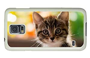 Hipster Samsung Galaxy S5 Case indestructible pretty kitty PC White for Samsung S5