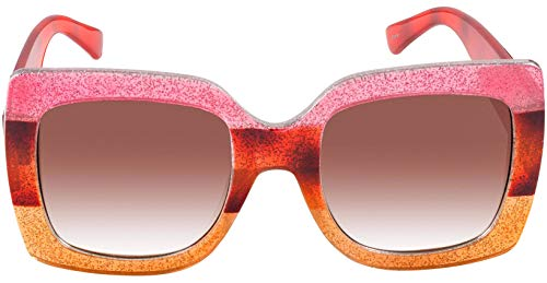 (Square Oversized sunglasses Pink rust orange+red temples+brown gradient lens)
