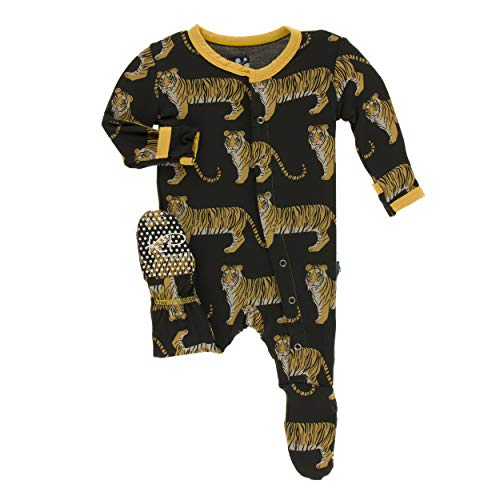 Kickee Pants Little Boys Print Footie with Snaps - Zebra Tiger, 6-9 Months ()