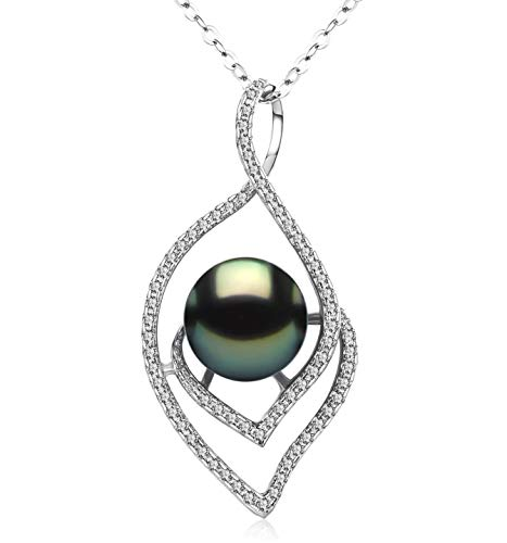 CHAULRI Lucky Peacock 9-10mm Genuine South Sea Tahitian Black Pearl Pendant Necklace 18K Gold Plated Sterling Silver - Jewelry Gifts for Women Wife Mom Daughter (Genuine Tahitian Pearl Black)