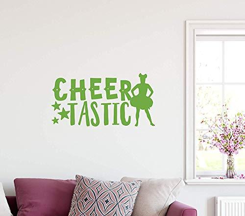 - Quote Cheerleader Silhouette Cheertastic Sparkle Shine Stars Cheer Cheerleading Football School Home Decoration for Living Room Wall Decals Decor Vinyl Sticker Q6028