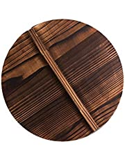 Hankyky Wooden Wok Pot Cover Pan Lid with Large Handle Anti-Hot Anti-Spillover Kitchen Accessory 10/11.8/14/15.7Inch