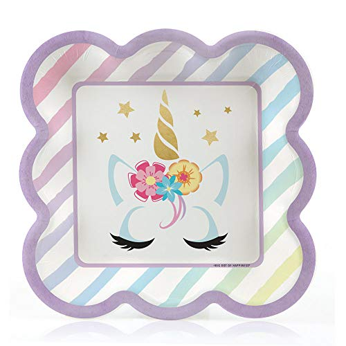 Big Dot of Happiness Unicorn with Gold Foil - Magical Rainbow Unicorn Baby Shower or Birthday Party Dessert Plates (16 Count)]()
