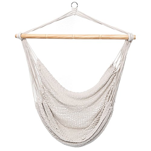 Cheap Finether Mesh Hammock Chair Swing, Netted Swing Chair Swing Seat Rope Hanging Chair for Any Indoor or Outdoor Spaces, 300 lbs Weight Capacity,White