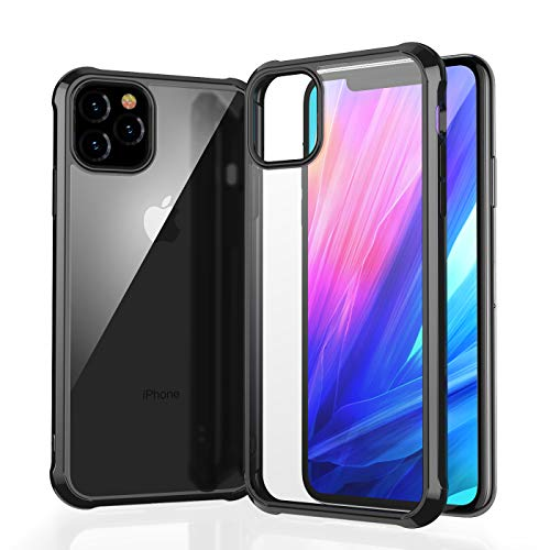 MoiiW Compatible with iPhone 11 Pro 5.8 Case Full Body Shockproof Dual Layer High Impact Protective Hard Plastic Soft TPU with Phone Cover Cases for iPhone 11 Pro 5.8 inch 2019-Black border transpare
