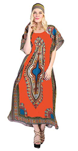 Dashiki Print Kaftan Dress African Print Dashiki Kaftan with Head Scarf (One Size, Orange)