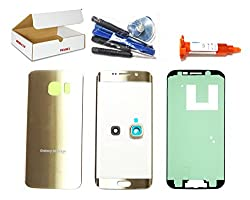(Md0410) Gold Front Outer Glass Lens + Back Cover + Camera Lens Cover Replacement Compatible Galaxy S6 Edge G925 + Adhesive + Tools (Lcd Touch Screen & Digitizer Not Included)