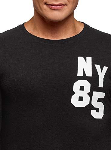 Avec Imprimé Noir 2912p Coton En Oodji Ultra Homme Sweat shirt USSOgA