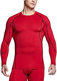 TSLA Compression Shirt Men Base Layer Long Sleeve Workout T-Shirt Clothes Men
