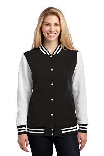 Sport-Tek Women's Fleece Letterman Jacket M Black/ White