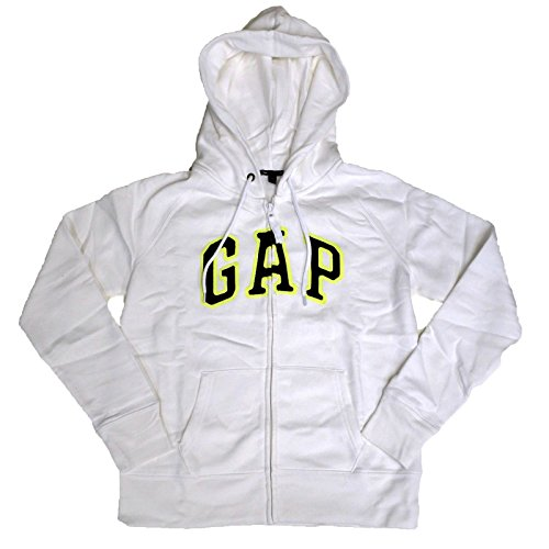 Arch Logo Zip (GAP Womens Fleece Arch Logo Full Zip Hoodie (Bright White, X-Small))
