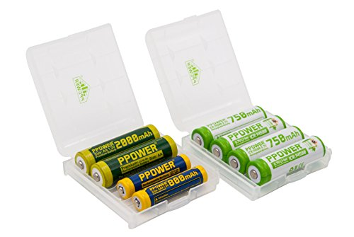 2x Ppower battery boxes for Alkaline NiMH NiCd AA or AAA batteries 14500 Lithium Ion Batteries - Storage Box for Protecting and Transporting (Batteries are not included) P-Power