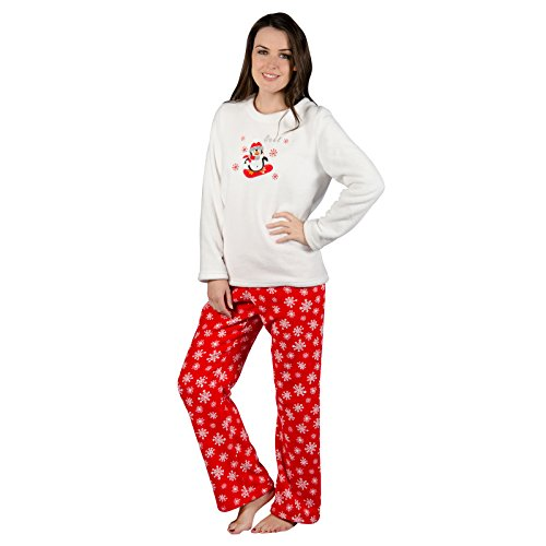 Damen Rot Pinguin Fleece Pyjama PJ Oberteil & Hose Nachtwäsche Set
